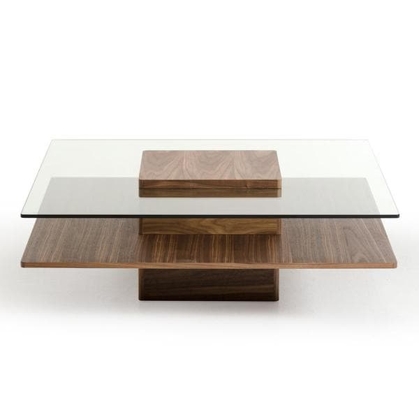 Modrest Upton Modern Square Glass Coffee Table Coffee: Modrest Clarion Modern Walnut And Glass Coffee Table
