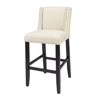Tolland Modern Bar Stool With White Cushions Set Of 2