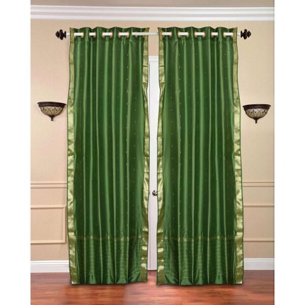 84-inch Forest Green Ring Top Sheer Sari Curtain Drape ...