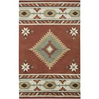 Hand Woven Red Tan Southwestern Aztec Louise Wool