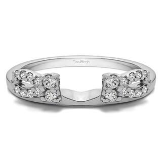 TwoBirch 10k Gold 1/5ct TDW White Diamond Delicate Bow Style Ring Wrap