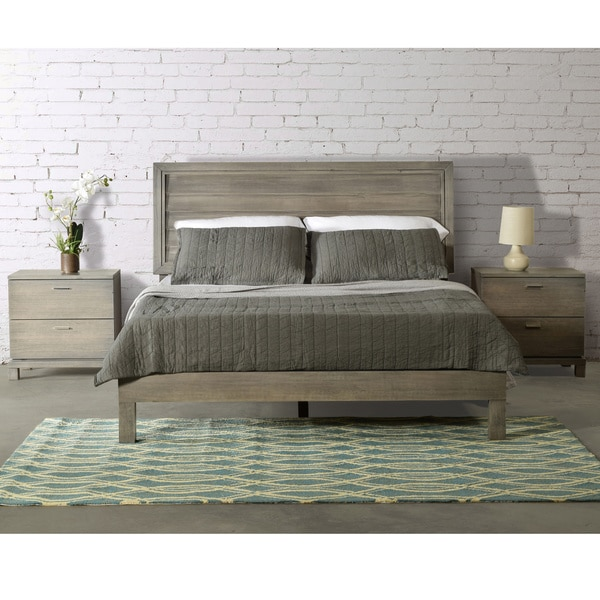 Rose Queen Size Louvered Panel Platform Bed Solid Wood