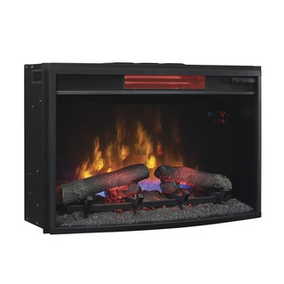 Northwest 25 Inch Mini Curved Black Fireplace With Wall