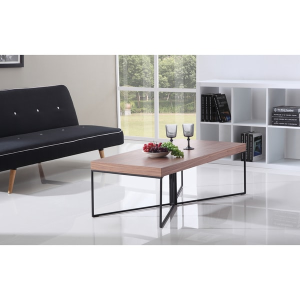 Aurelle Home Amanda Glass Top Rectangle Coffee Table: Mixer Light Walnut And Black Steel Coffee Table By B