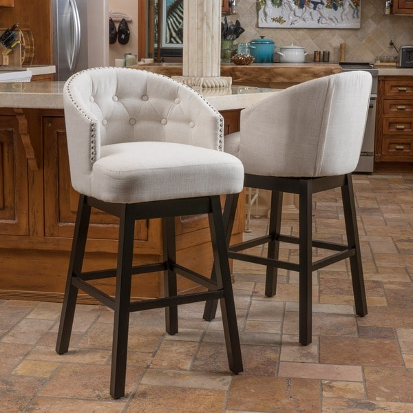 Christopher Knight Home Ogden Fabric Swivel Backed Barstool Set Of 2