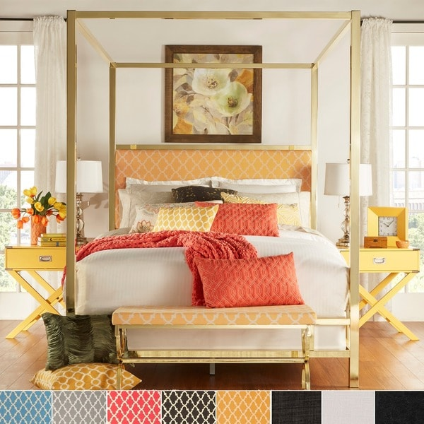 INSPIRE Q Solivita Full-Sized Canopy Gold Metal Poster Bed