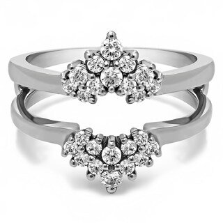 TwoBirch Sterling Silver 1/4ct TDW Diamond Double-row Prong-set Ring Guard