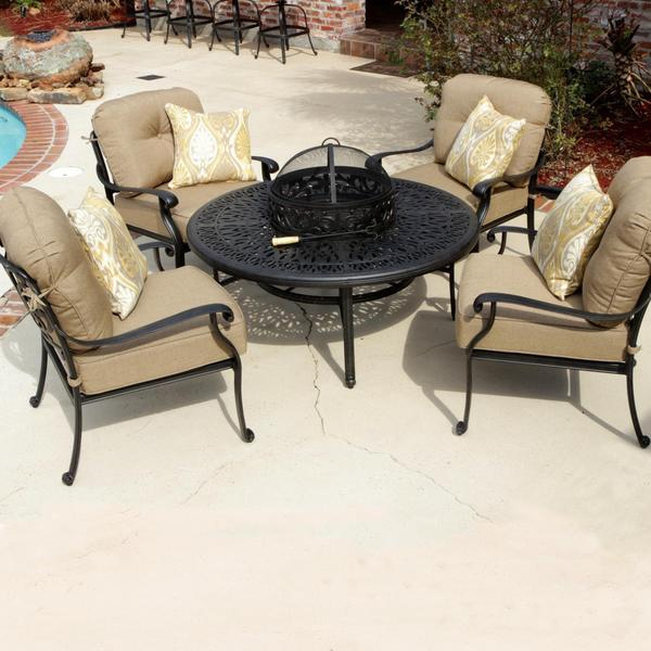 Rosedown 4 Person Cast Aluminum Patio Deep Seating Set