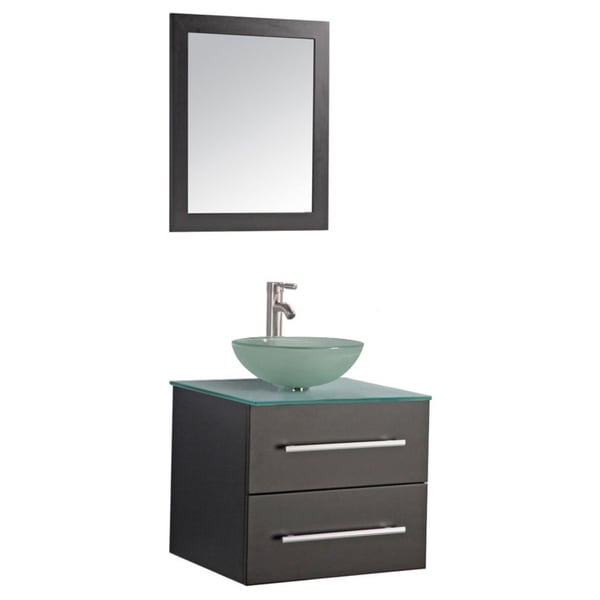 Mtd Vanities Cuba 24 Inch Single Sink Wall Mounted Bathroom Vanity Set With Mirror And Faucet