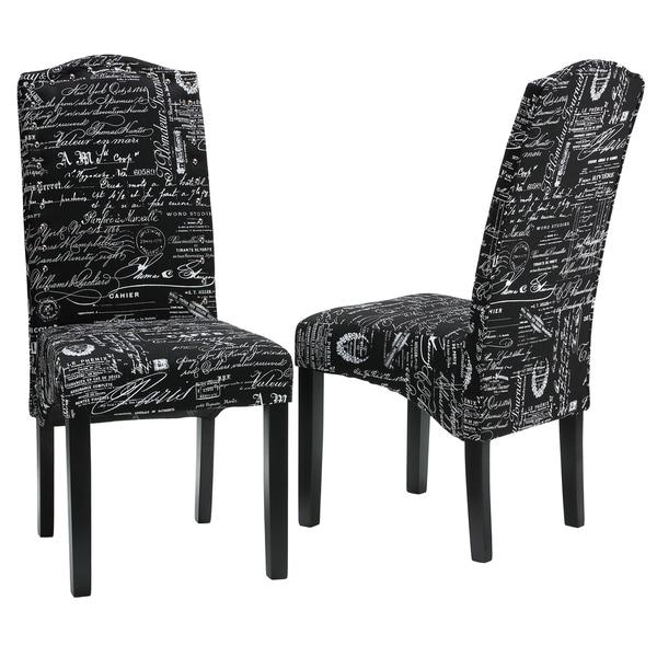 Safavieh En Vogue Dining Matty Black And White Striped: Cortesi Home Fletcher Dining Chair In Black Script Fabric
