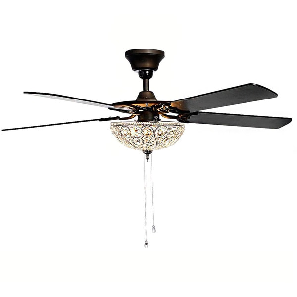 Crystal Ceiling Fan Light: Catalina 3-light Bronze-finished 5-blade 48-inch Crystal