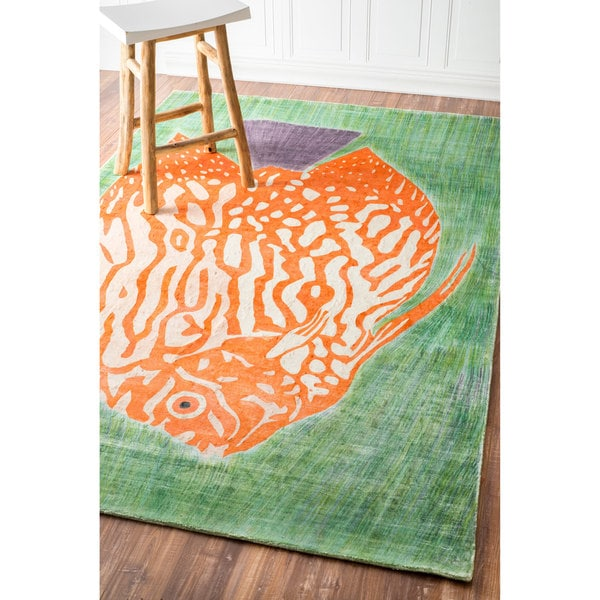NuLOOM Hand-knotted Viscose Fish Fancy Multi Rug (5' X 8