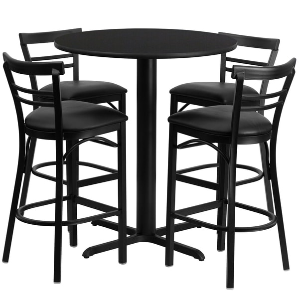 24-inch Round Black Laminate Table Set With Four (4) Black