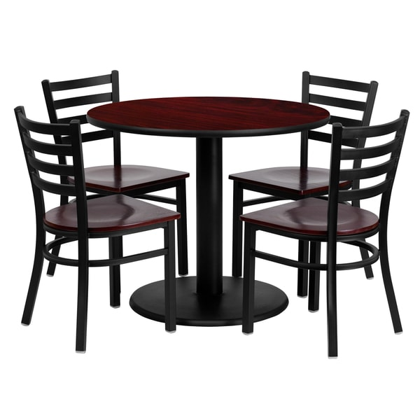36inch round mahogany laminate table set with four 4
