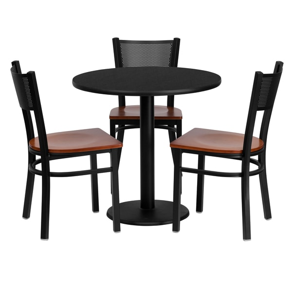 30 Inch Round Black Laminate Table Set With Three 3 Grid