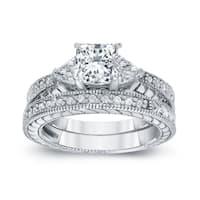 Auriya 14k White Gold 1 1/3ct TDW Certified Princess-cut Diamond Bridal Ring Set