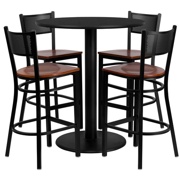 Round Table With Stools: 36-inch Round Black Laminate Table Set With Four (4