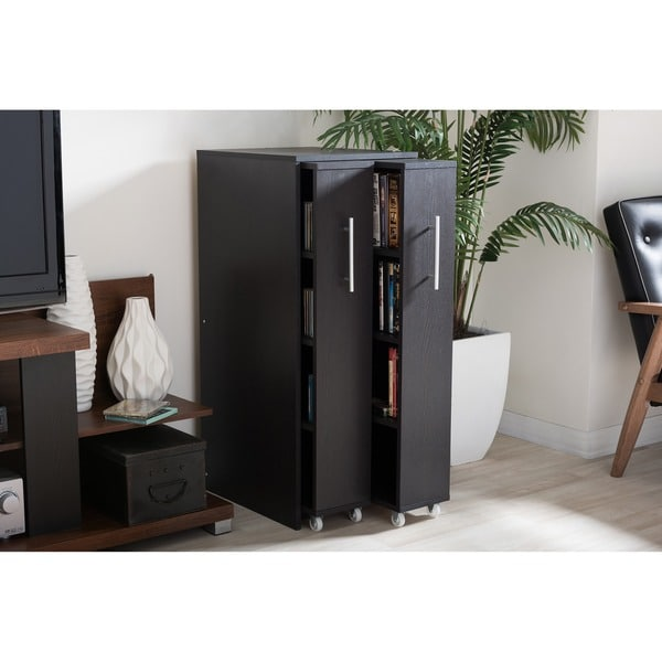 Baxton Studio Lindo Dark Brown Wood Bookcase With Two
