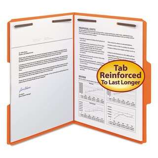 Smead Orange Two Fasteners 1/3 Cut Assorted Top Tabs, Letter Folders (Box of 50)