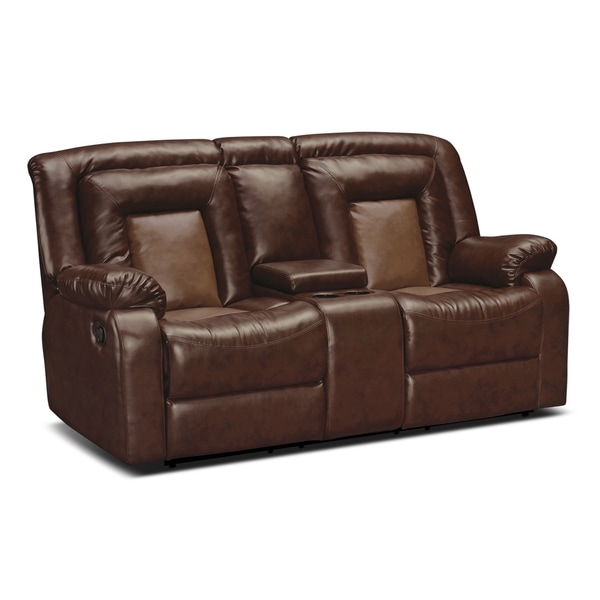 Kmax 2 Toned Pu Dual Reclining Loveseat With Storage