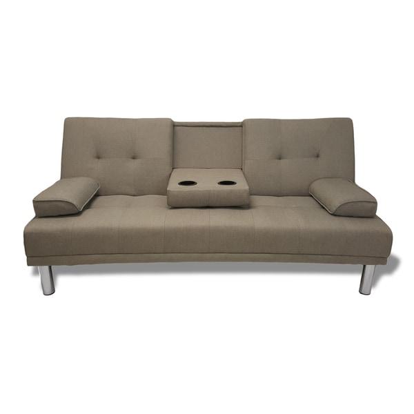 Sleeper Sofa Overstock: Modern Grey Convertible Sleeper Sofa Futon With Cup Holder