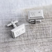 Stainless Steel Personalized Zircon Jewel Stainless Steel Initial Cufflinks