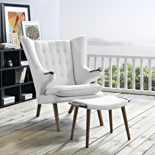 Inspire Q Albury White Faux Leather Chair With Ottoman
