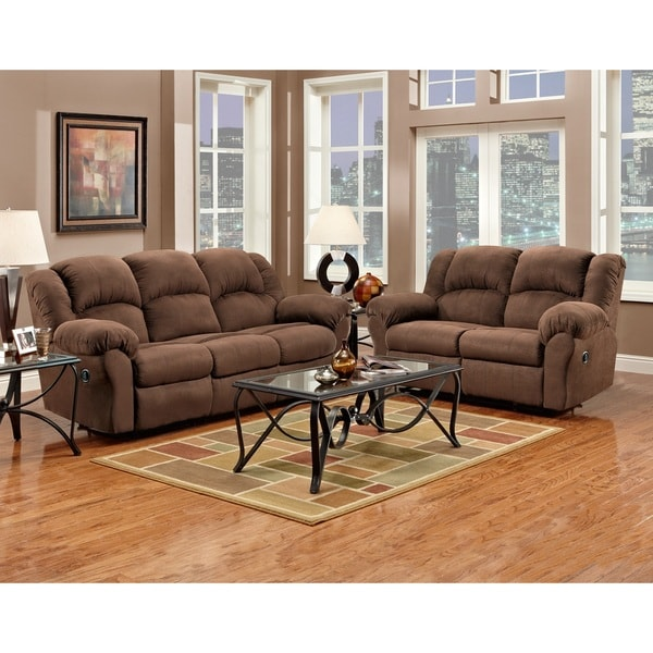Recliner Sofa Sets: Aruba Chocolate Microfiber Dual Reclining Sofa And