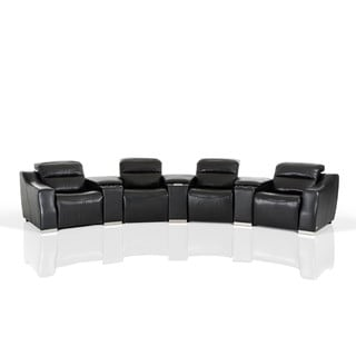 Flynn Black Bonded Leather Reclining Sectional Sofa With