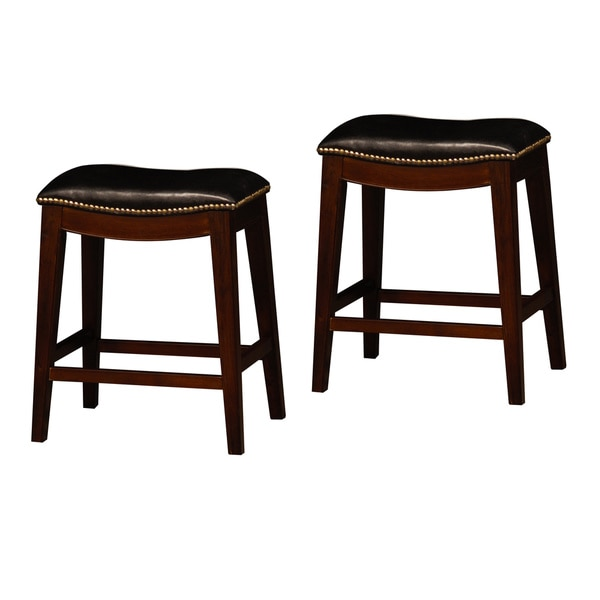Cushion Nailhead Saddle 24 Inch Counter Stools Set Of 2