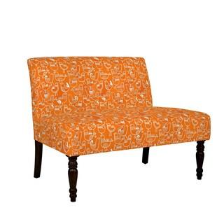 Angelo Home Bradstreet Damask Yellow Cream Armless Chair