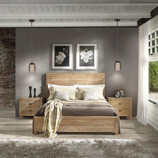 Bedroom Furniture Wood: Grain Wood Furniture Montauk Queen Solid Wood Panel Bed