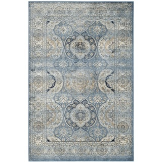 Transitional Floral Blue Viscose Chenille Rug 7 6 X 9 6