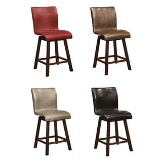 Brown Bicast Leather Swivel Barstool 14338747