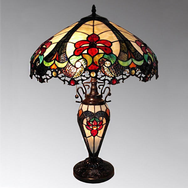 Nicole 3 Light Tiffany Style 16 Inch Double Lit Table Lamp 17563603 Overstock Com Shopping