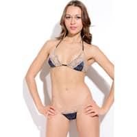 Women's Navy Snakeskin Tan Lace Triangle Bra Bikini Top