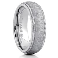 Oliveti Men's Titanium Hairline Ground Brushed Finish Dome Comfort-fit Wedding Band - Silver
