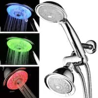 Luminex Air-Turbo Stainless Steel and Chrome 7-color LED 24-setting Shower Combo