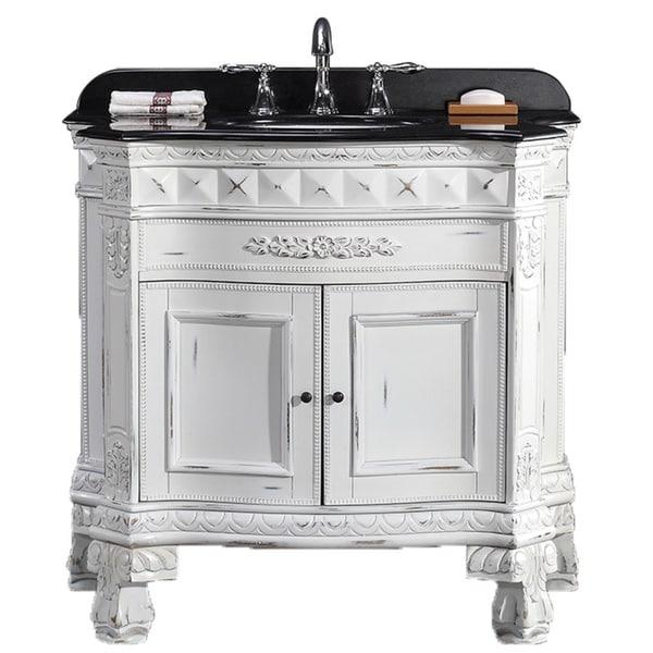"""Granite Top Vanity Cabinet 36"""" Sink Bathroom Vintage White ..."""