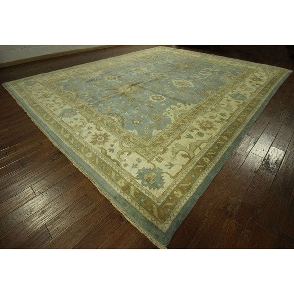 Hand Knotted Wool Blue Oushak Geo Floral Oriental Area Rug