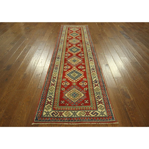 Red Blue And Ivory Runner Super Kazak Hand Knotted Wool