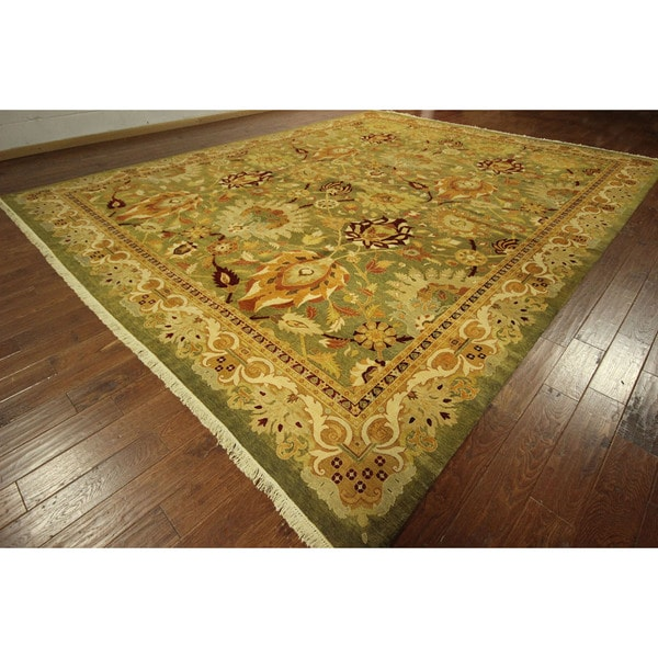Vegetable Dyed Hand Knotted Floral Oushak Ivory Persian: Hand-knotted Wool Persian Oushak Style Chobi Green Area