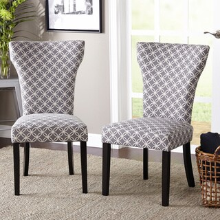 Inspire Q Geneva Blue Damask Wingback Hostess Chairs Set