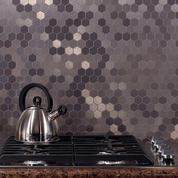 Aspect 12x4-inch Honeycomb Stainless Matted Metal Tile (3