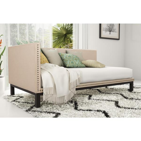 Avenue Greene Mid Century Tan Upholstered Modern Daybed
