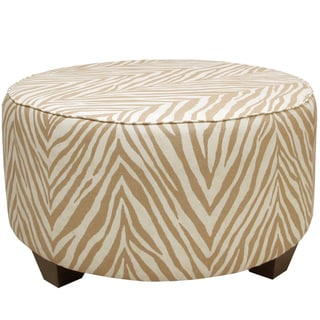 Luxury Round Animal Print Ottoman 15781259 Overstock