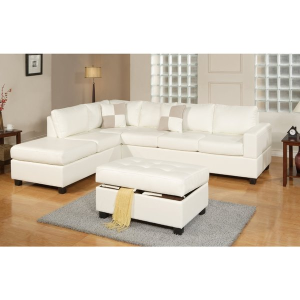White Leather Sofa Rooms To Go: 3-piece Modern White Bonded Leather Reversible Sectional