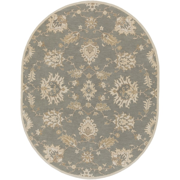 New Persian Hand Tufted Wool Oval Area Rug: Hand-Tufted Watton Floral Wool Rug (6' X 9' Oval