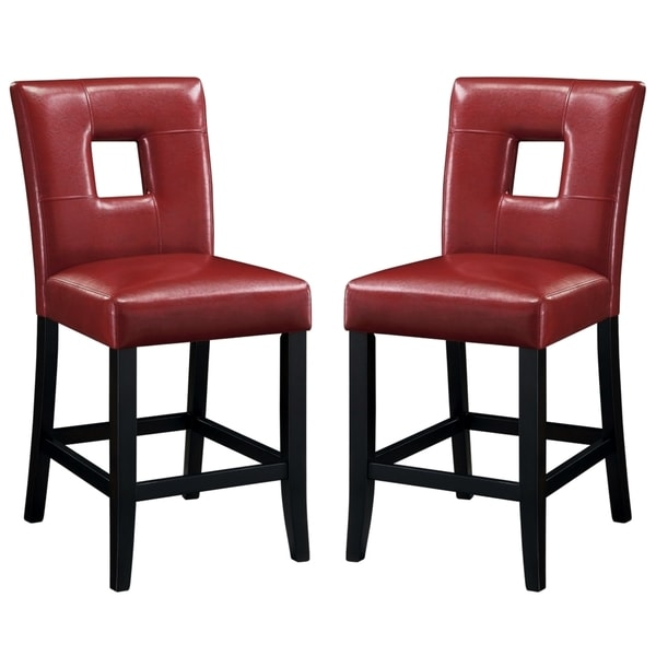 Epcot Open Back Red Upholstered Counter Height Stools Set