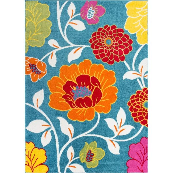 Well Woven Bright Flowers Blue, Orange, Red, Yellow, And
